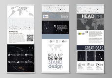Roll up banner stands, geometric design templates, business concept Royalty Free Stock Photos