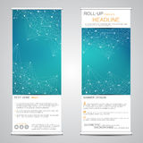 Roll-up banner stands for presentation and publication. Geometric abstract background. Vector illustration Stock Image