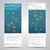 Roll-up banner stands for presentation and publication. Geometric abstract background. Vector illustration Royalty Free Stock Images