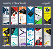 Roll Up Banner template Collection, stand display template vector stock illustration
