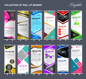 Roll Up Banner  template Collection, stand template vector Royalty Free Stock Images
