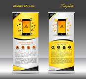 Roll up banner  template and Mobile infographics, stand display Stock Photography