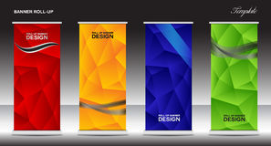 Roll Up Banner template vector illustration, polygon background Royalty Free Stock Photography