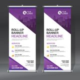 Roll up banner design template, vertical, abstract background, pull up design, modern x-banner, rectangle size. Roll up banner for your company or business vector illustration
