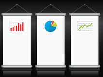 Roll up banners with charts and diagrams Stock Image