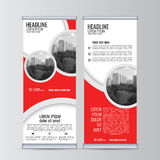 Roll up business banner design vertical template vector. Royalty Free Stock Photo