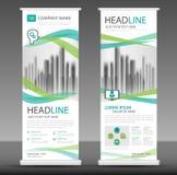 Roll up business brochure flyer banner design, stand template royaltyfri illustrationer