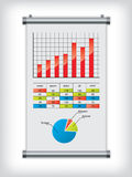 Roll up display with charts and diagrams Royalty Free Stock Photo