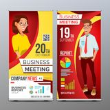 Roll Up Banner Vector. Vertical Billboard Template. Businessman And Business Woman. Expo, Presentation, Festival. For. Roll Up Display Vector. Vertical Poster Royalty Free Stock Photos