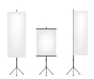 Roll up flag banner and projection screen Royalty Free Stock Photos