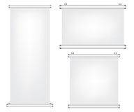 Roll up and projector screen illustration. On white background Royalty Free Stock Image
