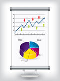 Roll up stand with charts. Roll up display stand with charts royalty free illustration