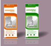 Roll up banner template design royalty free illustration