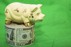 Roll of US cash piggybank green background Stock Image