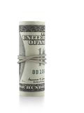 Roll of US dollars. Isolated over white background stock image