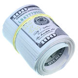 Roll of US dollars. Isolated over the white background Royalty Free Stock Image