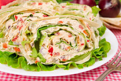 Roll with vegetnables and chicke. Pita bread wrapped with minced chicken and vegetables Stock Image