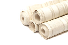 Roll of vinyl wallpaper on white Royalty Free Stock Images