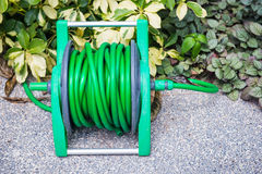 Roll the watering hose in the garden. Equipment for watering royalty free stock image