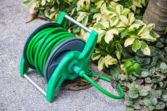 Roll the watering hose in the garden. Equipment for watering royalty free stock images