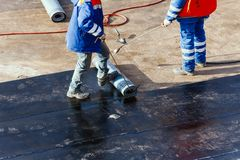 Roll waterproofing foundation flat roof repair insulation royalty free stock photo