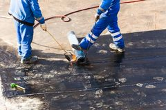 Roll waterproofing foundation flat roof repair insulation stock image