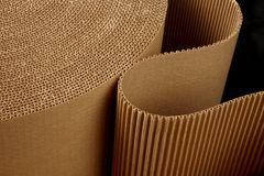 Roll of wavy corrugated. Close up shot of corrugated packing material uncurling on black background stock photo