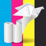 Roll of white paper with Origami Pigeon. Stock Photography