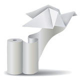 Roll of white paper with Origami Pigeon. Royalty Free Stock Photography