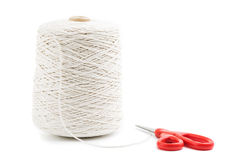Roll of white rope isolated Royalty Free Stock Images