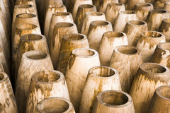 Wood in factory. Roll of woods vase in factory Stock Image