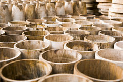 Wood in factory. Roll of woods vase in factory prepare for craft Stock Photo