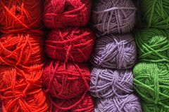 Roll of wool. Many color yarn and wool in skeins and yarns. ball royalty free stock photography