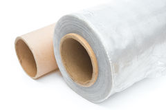 Roll of wrapping plastic stretch film with an empty one Stock Photography