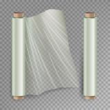 Roll Of Wrapping Stretch Film Vector. Opened And Closed Polymer Packaging. Cellophane, Plastic Wrap.  On Royalty Free Stock Images