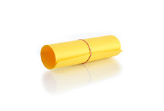 Roll Of Yellow Paper. On white background. Clipping path is included stock photo