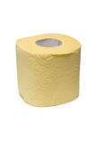 Roll of a yellow toilet paper. Royalty Free Stock Photos