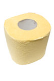 Roll of a yellow toilet paper. Stock Photography