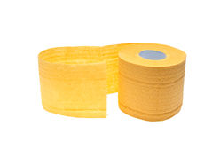 Roll of yellow toilet paper Stock Photos