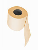 The roll of yellow toilet paper isolated Stock Photos