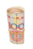 Roll of 100 Yuan bills Royalty Free Stock Image