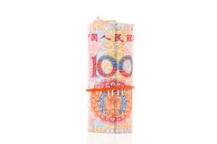 Roll of 100 Yuan bills. Isolated on white with clipping path royalty free stock photography