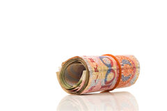 Roll of 100 Yuan bills. Isolated on white with clipping path Stock Images