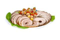 Rollade van baconplakken en varkenskotelet Royalty-vrije Stock Foto's