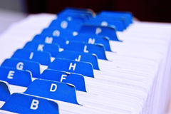 Rolladeck. Closeup of alphabet on a roladex Royalty Free Stock Photos