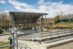 """Rolland amphitheater. Located at the edge of the lower Laurentians on the picturesque Rivière du Nord, Saint-Jérôme is often called the """"Capital of the Royalty Free Stock Photo"""