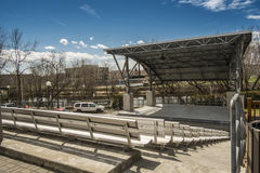 """Rolland amphitheater. Located at the edge of the lower Laurentians on the picturesque Rivière du Nord, Saint-Jérôme is often called the """"Capital of the Stock Photography"""