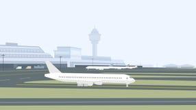 Rollbahn u. Flughafen-Vektor Lizenzfreies Stockbild