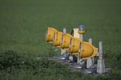 Rollbahnbeleuchtung Flughafen-Landescheinwerfer Stockfotos