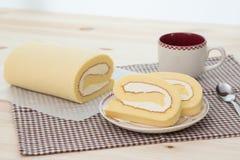 Rollcake с кофейной чашкой Стоковые Фото